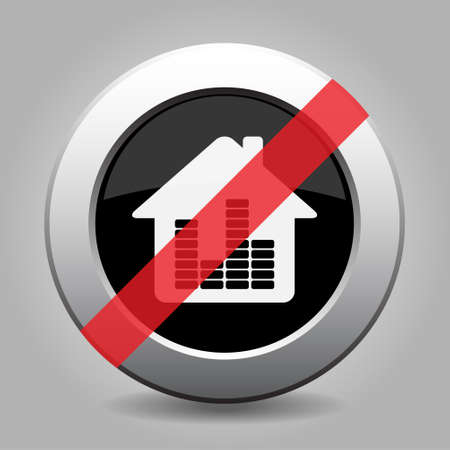 banned: gray button, no house with equalizer symbol - banned icon Illustration