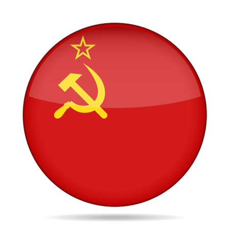 soviet union: button with national flag of Soviet Union and shadow