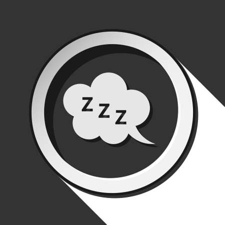 zzz: black icon with ZZZ speech bubble and white stylized shadow
