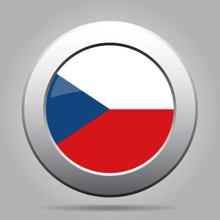 metal button: metal button with the national flag on a gray background - Czech Republic Illustration