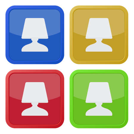 bedside: set of four colored square icons with bedside table lamp Illustration