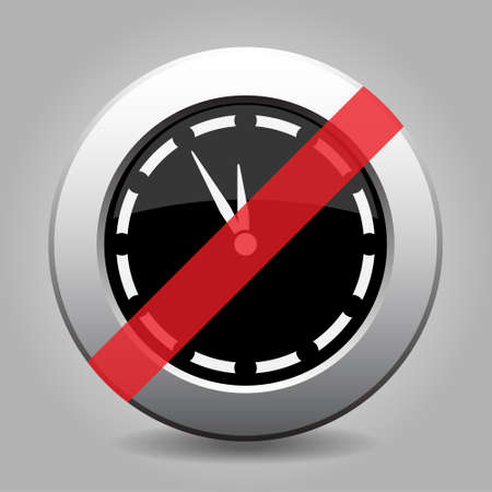 interdict: gray chrome button with no last minute clock - banned icon Illustration