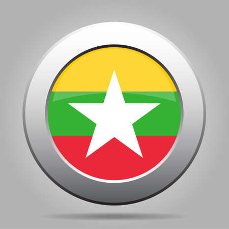 metal button: metal button with the national flag of Myanmar, Burma on a gray background