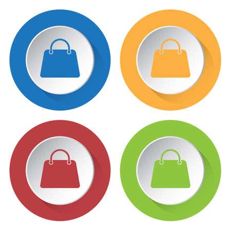 set of four colored icons - handbag icon
