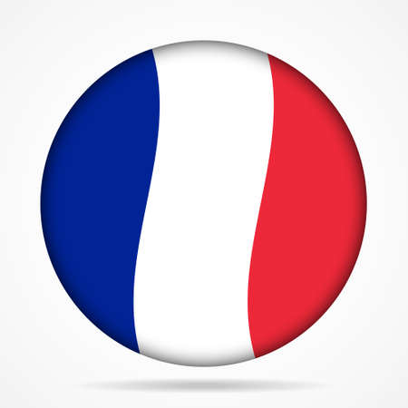 gallic: round waving national flag of France and shadow Illustration