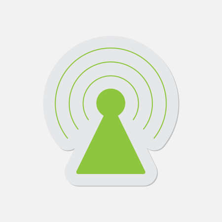 gprs: simple green icon with contour and shadow - transmitter on a white background