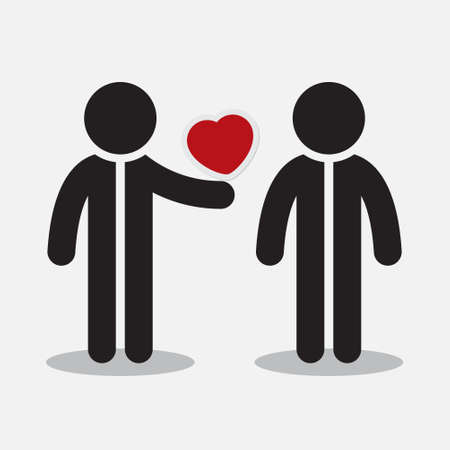 greeting stylized: greeting card - two stylized figures and red heart