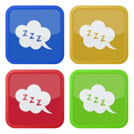 zzz: set of four colored square icons with ZZZ speech bubble