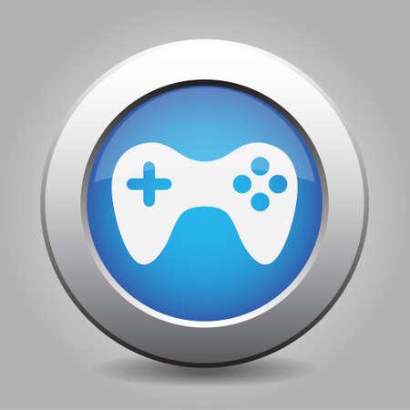 blue metal button - with white gamepad icon Vektorové ilustrace