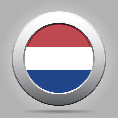 netherlandish: metal button with the national flag of Netherlands on a gray background Illustration