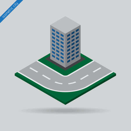 dotted line: isometric city - road with the dotted line and the building