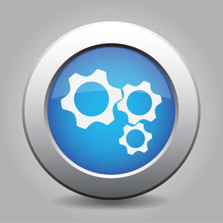 blue metal button - with white three cogwheel icon Vector Illustration