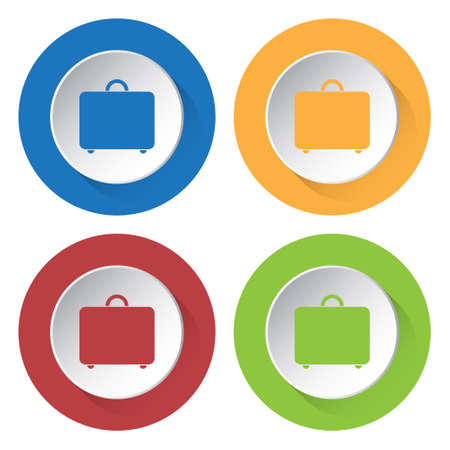 belongings: set of four colored icons - suitcase icon