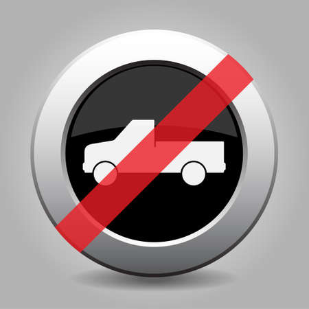 interdict: gray chrome button with no car - banned icon Illustration