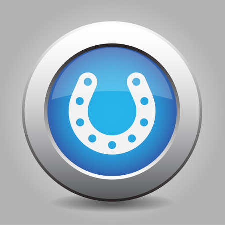 holes: blue metal button - white horseshoe with holes