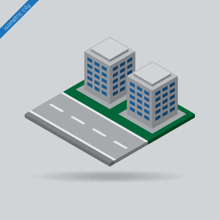dotted line: isometric city - road with the dotted line and two buildings