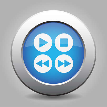menu buttons: blue metal button - with white music control buttons