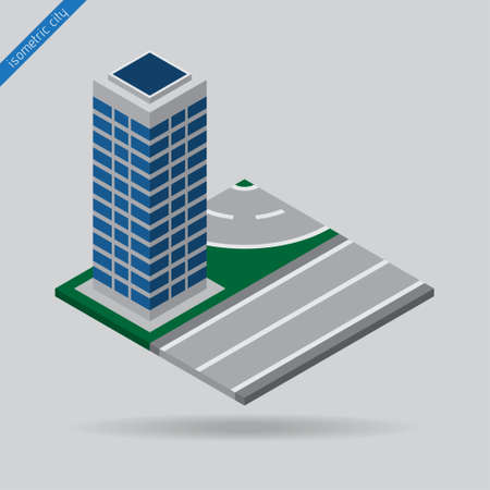 solid line: isometric city - road with the solid line, dotted line and skyscraper
