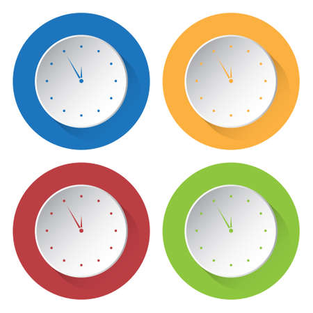 last minute: set of four colored icons - last minute clock Illustration