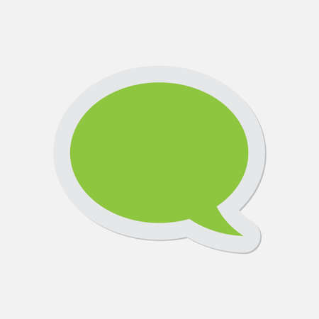 shadow speech: simple green icon with contour and shadow - speech bubble on a white background Illustration