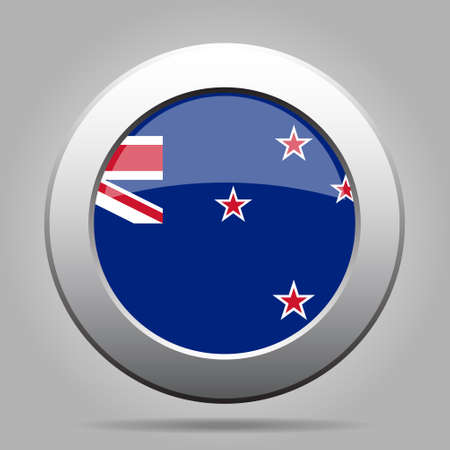 metal button: metal button with the national flag of New Zealand on a gray background Illustration