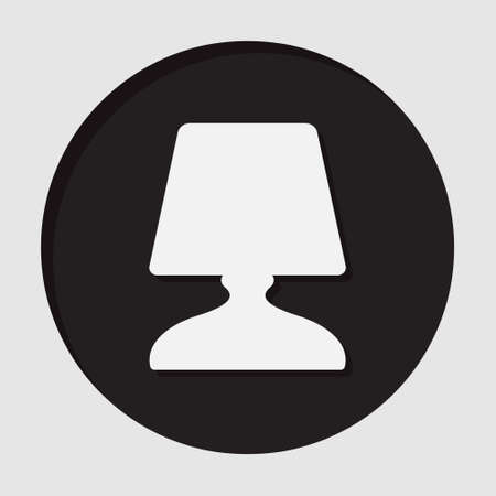 bedside: information icon - dark circle with white bedside table lamp and shadow Illustration
