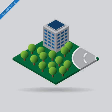 road shoulder: isometric city - green space with trees, building and road with the dotted line