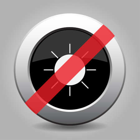 gray chrome button with no sunny - banned icon Illustration