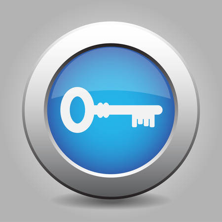 unprotected: blue metal button - with white key icon Illustration