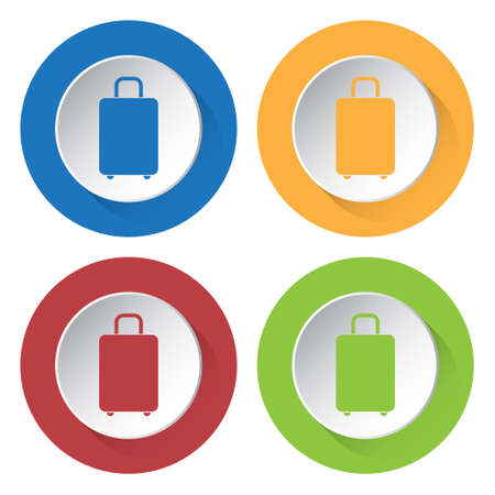 belongings: set of four colored icons, suitcase icon