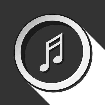semiquaver: black icon - musical note with white stylized shadow Illustration