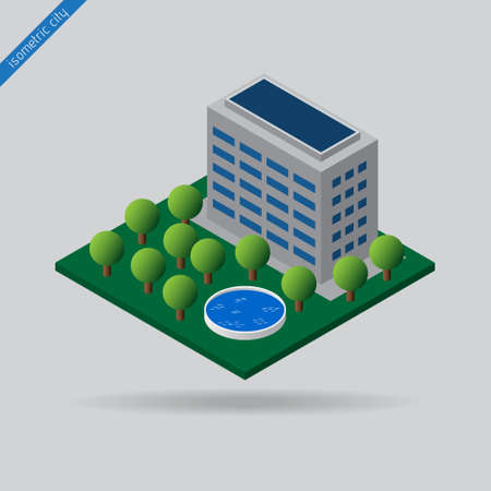swimming pool home: isometric city - green space with trees, swimming pool and building