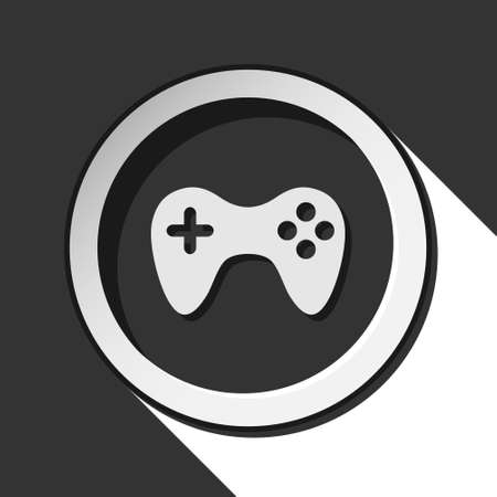 game pad: black icon - game pad with white stylized shadow