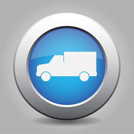 white van: blue metal button - with white van icon