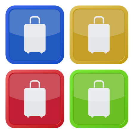 belongings: set of four colored square icons with suitcase Illustration
