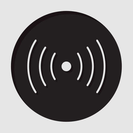 vibration: information icon - dark circle with white sound or vibration symbol and shadow Illustration
