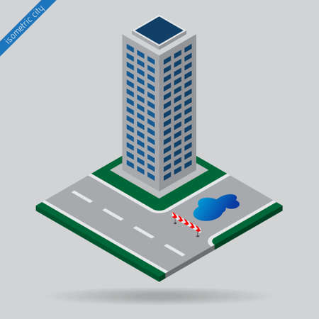dotted line: isometric city - dotted line road, junction, detour sign board, puddle and skyscraper