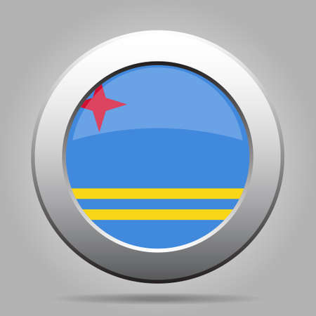 aruba flag: metal button with the national flag of Aruba on a gray background Illustration