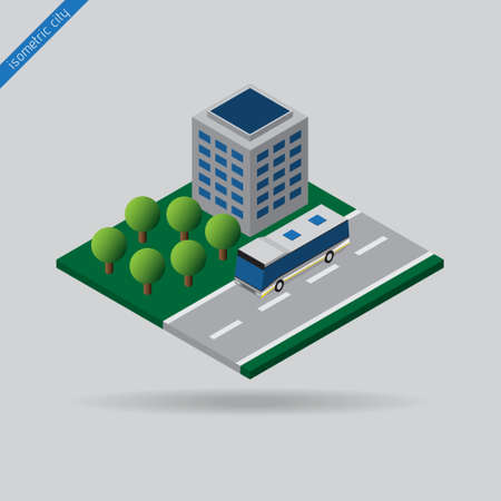 dashed line: isometric city - bus on road with the dashed line, building and trees