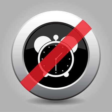 banned: gray button with no alarm clock - banned icon Illustration