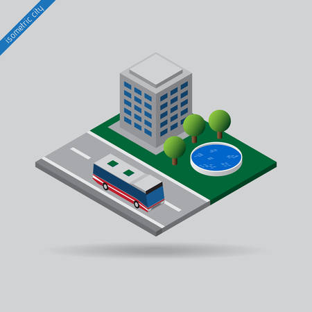 isometric city - bus on road with the dashed line, building, trees and swimming pool