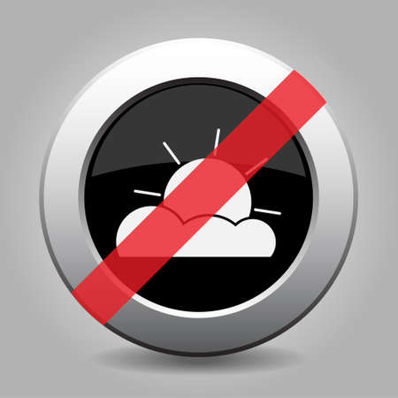 partly: gray button with no partly cloudy - banned icon