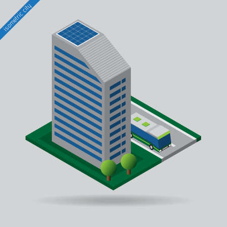 dashed line: isometric city - bus on road, dashed line, building with solar panels and trees