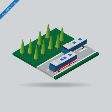 omnibus: isometric city - two buses on road with dashed line and trees