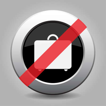 banned: gray chrome button with no suitcase - banned icon Illustration