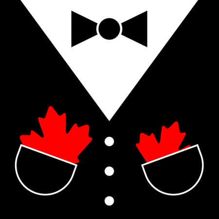 black mens suit with bow tie, white buttons and two maple leafs in pockets Ilustração