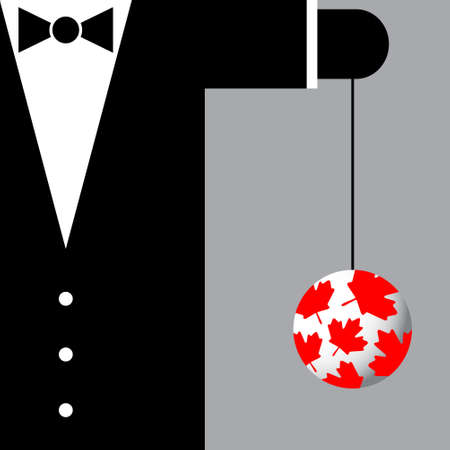 black bow: black suit with the symbols of Canada - black bow tie and yoyo with red maple leafs Illustration