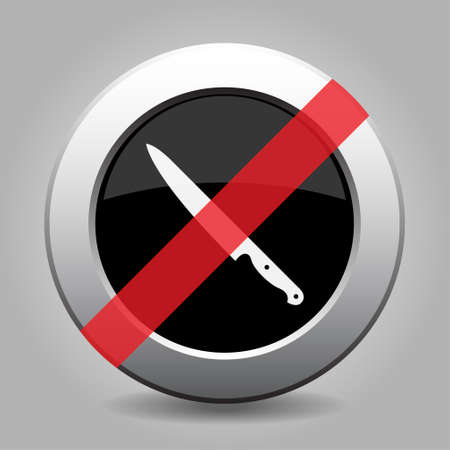 interdict: gray button with no kitchen knife - banned icon Illustration