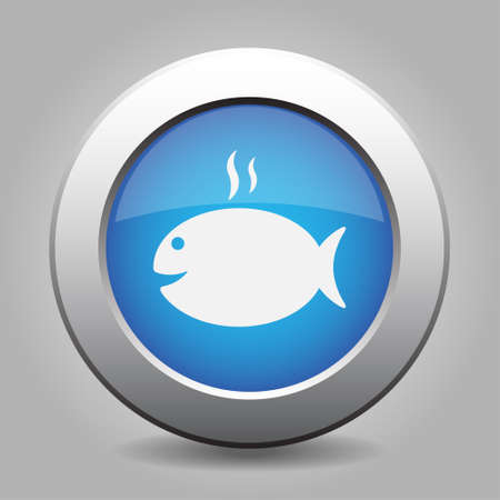 caudal fin: blue metal button - white grilling fish with smoke