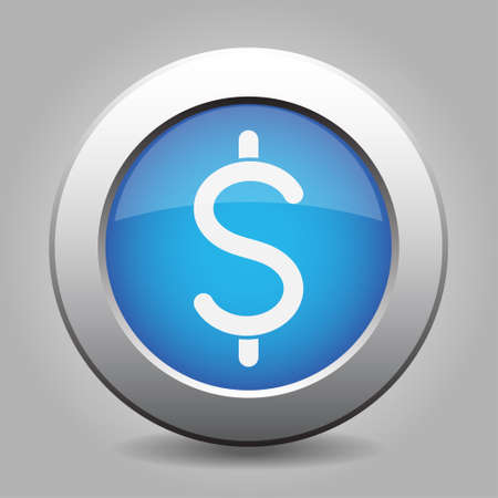 currency symbol: blue metal button - with white dollar currency symbol